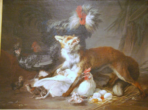Fox in a Chicken Yard, Landscape, by Jean-Baptiste Huet